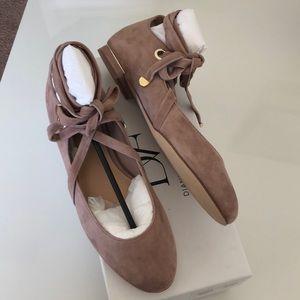 Diane Von Furstenberg Shoes - New! Suede Ankle-Tie Flats!